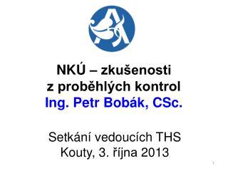 NKÚ – zkušenosti  z proběhlých kontrol Ing. Petr Bobák, CSc.
