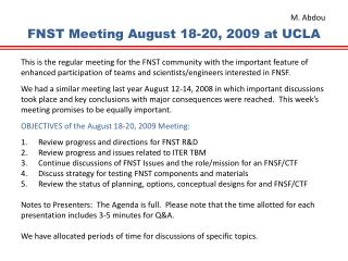 FNST  Meeting August 18-20, 2009 at  UCLA