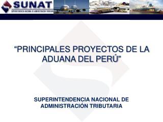 """""""PRINCIPALES PROYECTOS DE LA ADUANA DEL PERÚ"""""""
