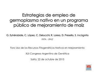 Estrategias de empleo de germoplasma nativo en un programa público de mejoramiento de  maíz