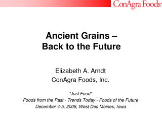 Ancient Grains   Back to the Future