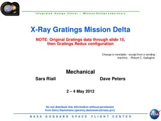Mechanical Sara Riall			Dave Peters 2 � 4 May 2012