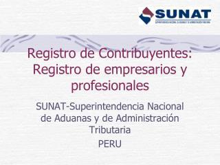 Registro de Contribuyentes: Registro de empresarios y profesionales