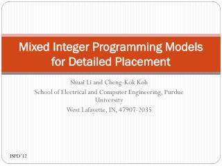 Mixed Integer Programming Models for Detailed Placement