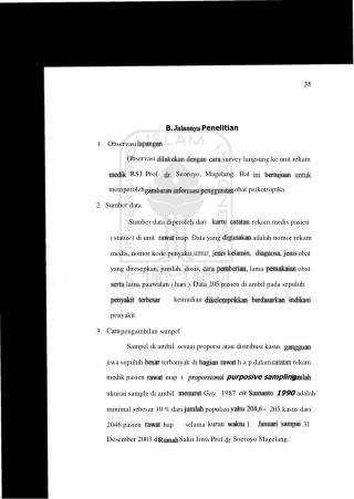 Penelitian survey langsung ke unit rekam Seoroyo,  Magelang.  Hal obat psikotropika.
