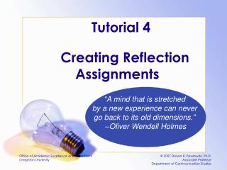 Creating Reflection Assignments