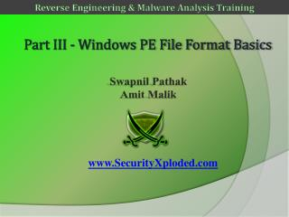 Part III - Windows PE File Format  Basics