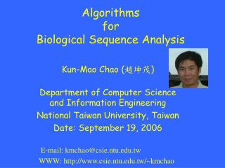 Algorithms  for  Biological Sequence Analysis