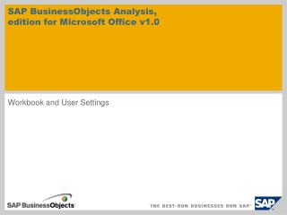 SAP BusinessObjects  Analysis ,  edition for Microsoft Office v1.0