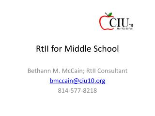RtII  for Middle School