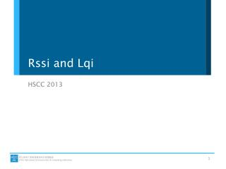 Rssi  and  Lqi
