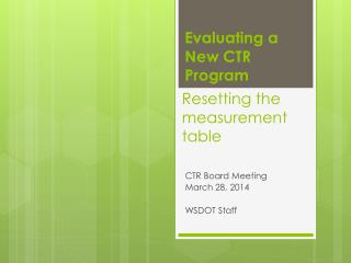 Resetting the measurement table
