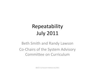 Repeatability July 2011