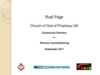 Rudi Page Church of God of Prophecy UK Community Partners for  Reverse Commissioning