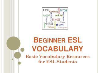 Beginner ESL VOCABULARY