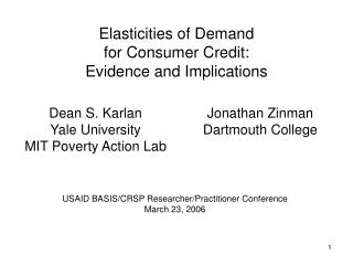 Elasticities of Demand for Consumer Credit: Evidence and Implications