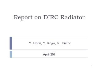 Report on DIRC Radiator