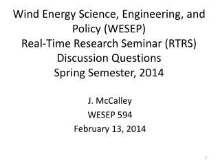 J. McCalley WESEP 594 February 13, 2014