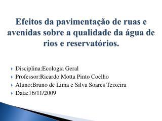 Efeitos da pavimentação de ruas e   avenidas sobre a qualidade da água de rios e reservatórios.