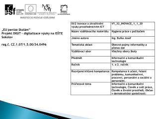 """""""EU  peníze školám"""" Projekt DIGIT – digitalizace výuky na ISŠTE Sokolov"""