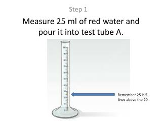 Measure 25 ml of red water and pour it into test tube A.