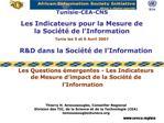 RD dans la Soci t  de l Information   Les Questions  mergentes - Les Indicateurs de Mesure d impact de la Soci t  de l I