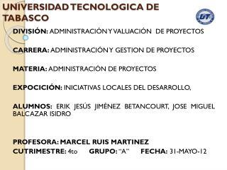 UNIVERSIDAD TECNOLOGICA DE TABASCO