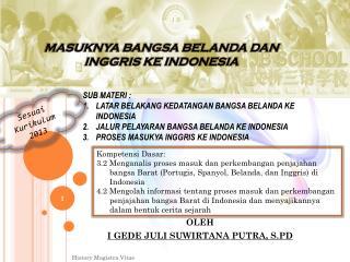 MASUKNYA BANGSA BELANDA DAN INGGRIS KE INDONESIA