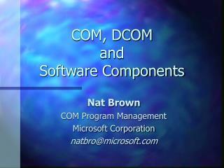 COM, DCOM and Software Components