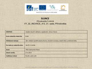 SLUNCE Přírodověda 5.ročník VY_32_INOVACE_412,  21. sada,  Přírodověda