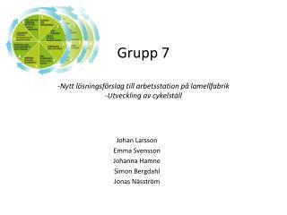 Grupp 7 -Nytt  lösningsförslag till arbetsstation på lamellfabrik -Utveckling  av cykelställ