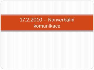 17.2.2010 – Nonverbální komunikace