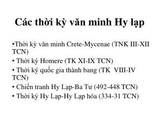 Các thời kỳ văn  minh  Hy lạp