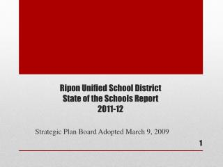 Ripon Unified School District State of the Schools Report 2011-12