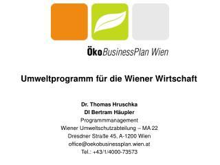 Umweltprogramm für  die Wiener  Wirtschaft