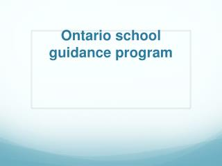 Ontario school guidance  program