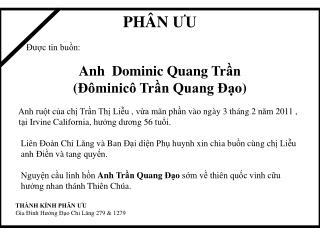 PHÂN  ƯU Được tin  buồn : Anh Dominic Quang  Trần ( Đôminicô Trần  Quang Đ ạ o)