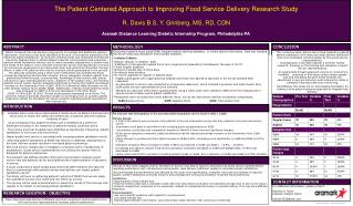 The Patient Centered Approach  to Improving  Food Service Delivery Research Study