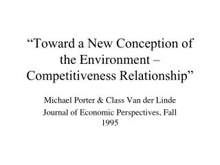 Toward a New Conception of the Environment   Competitiveness Relationship