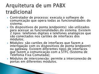 Arquitetura de um PABX tradicional