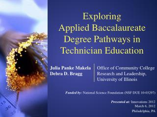 Exploring  Applied Baccalaureate Degree Pathways in Technician Education