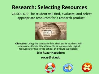 Research: Selecting Resources