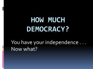 How much democracy?