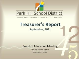 Treasurer's Report September, 2011