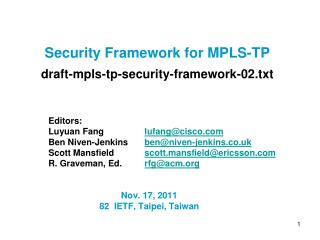 Security Framework for MPLS-TP  draft-mpls-tp-security-framework-02.txt