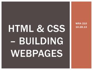 HTML & CSS – Building Webpages
