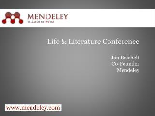 Life & Literature Conference Jan Reichelt Co-Founder Mendeley