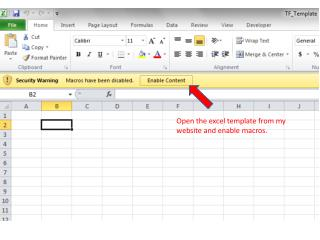 Open the excel template from my website and enable macros.