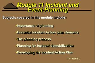 Module 11 Incident and Event Planning