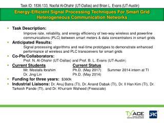 Task ID:  1836.133 , Naofal Al-Dhahir (UT-Dallas) and Brian L. Evans (UT-Austin)